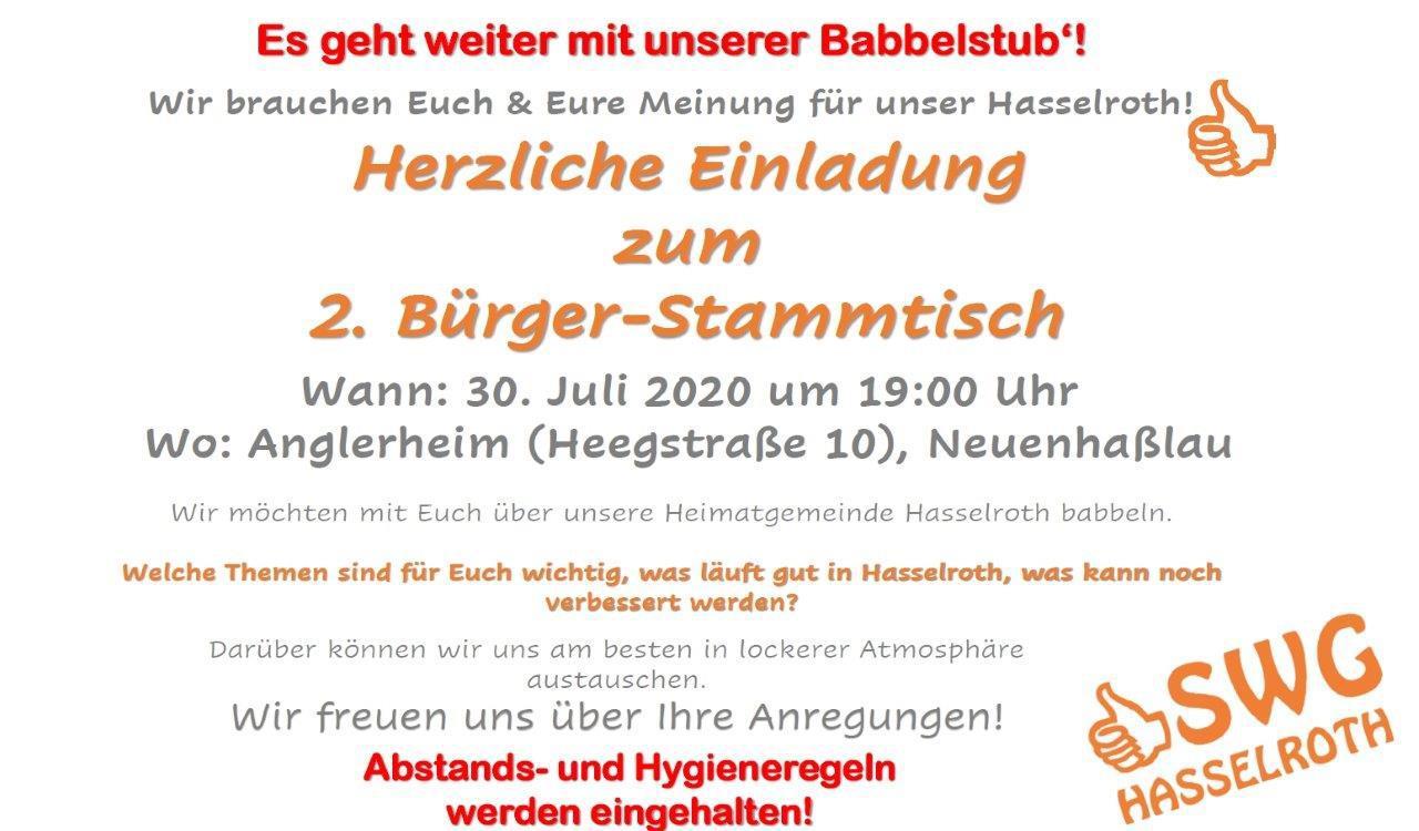 Es Geht Weiter – SWG Hasselroth Lädt Ein Zum 2. Bürger-Stammtisch