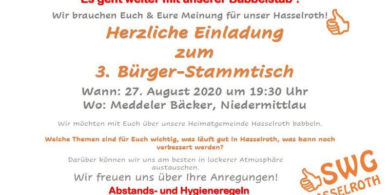 Es Geht Weiter – Herzliche Einladung Zum 3. Bürger-Stammtisch Am 27.08.2020 Nach Niedermittlau