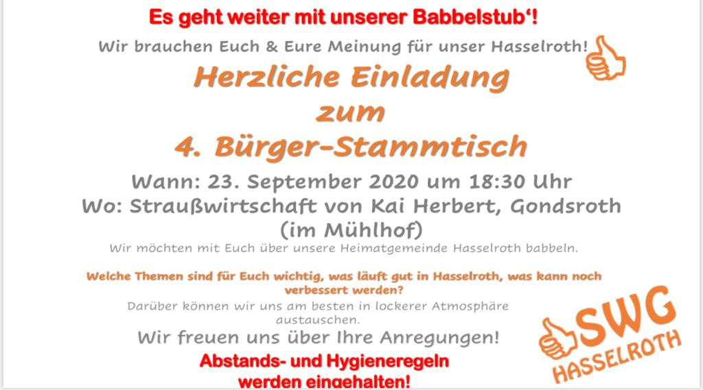 Herzliche Einladung Zu Unserem 4. Bürger-Stammtisch Am 23.09.2020 In Gondsroth