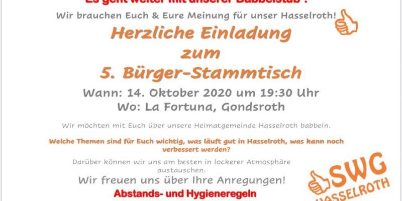 !!! Terminabsage !!! Herzliche Einladung Zu Unserem 5. Bürger-Stammtisch In Gondsroth