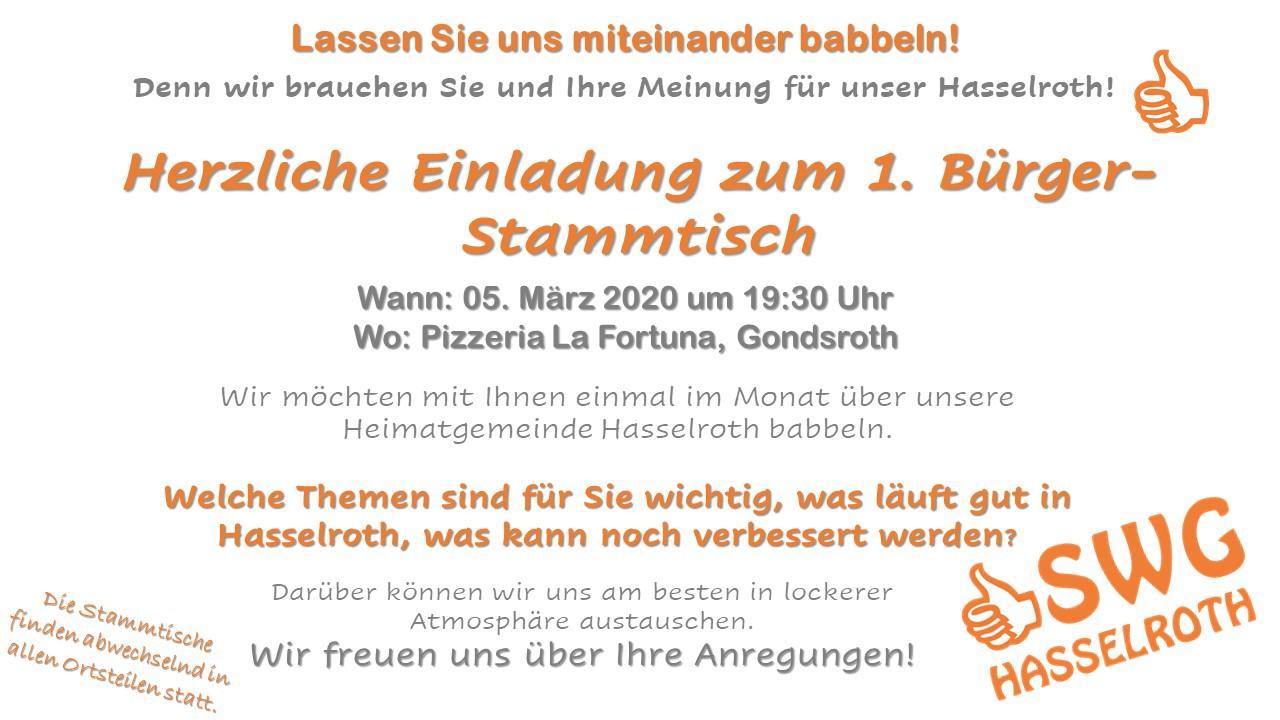 Herzliche Einladung Zum Bürger-Stammtisch – Denn Wir Brauchen Sie Und Ihre Meinung Für Hasselroth !